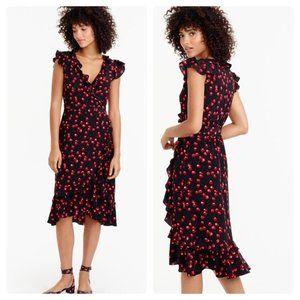 J Crew Cherry Print Silk Ruffle Dress Black Sz 2